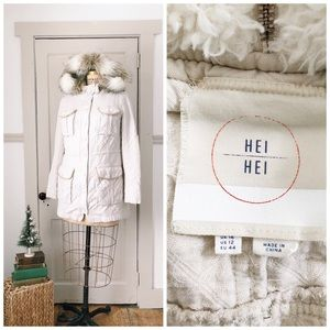 Anthropologie Lunan Anorak by Hei Hei Sz 12 Cream